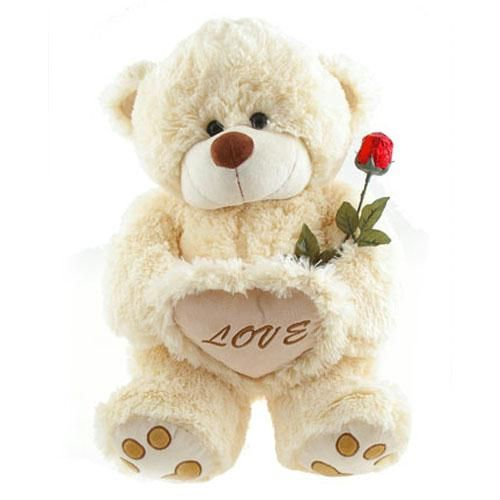 1 foot teddy with 1 red rose