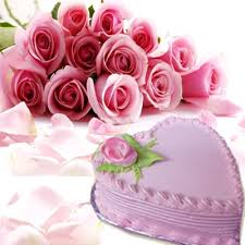 12 pink roses bouquet 1 kg heart cake