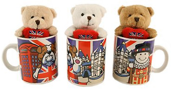 3 Teddies in 3 coffee mugs