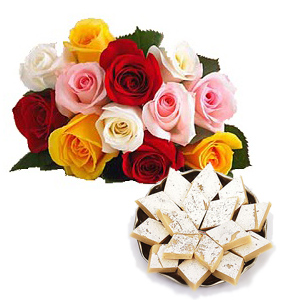 Half Kg Kaju Katli 12 Mix colour roses bouquet