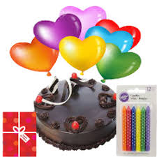 12 Air Balloons 1 2 Kg Chocolate Cake And Candles With Card
