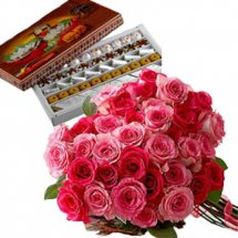 Half Kg Mix Sweets and 6 Pink roses bouquet