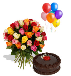 24 Mix roses bouquet with 6 air filled balloons and 1/2 Kg chocolate cake