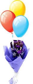 3 Air balloons 6 Dairy milk chocolate bars bouquet