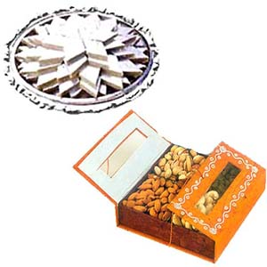 250gm Dry Fruits with 1/2 Kg Kaju Katli
