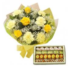 Half Kg Mix Sweets and 10 Yellow Carnation and roses bouquet