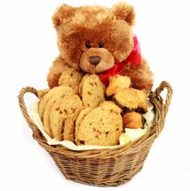 Teddy bear (6 inches) with a basket of cookies