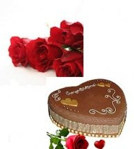 Heart Shaped Chocolate Cake 2kg with 5 roses