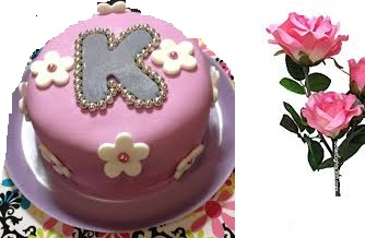 1 kg alphabet cake with 3 pink roses