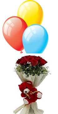 3 Air filled balloons 6 Red Roses bouquet 6 inches Teddy