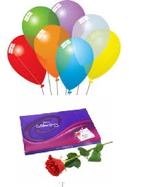6 Air Balloons 1 Red Rose Celebration box