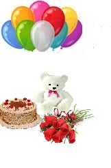 10 Air Balloons 1/2 Kg Cake 6 Red Rose Bouquet 6 inches Teddy
