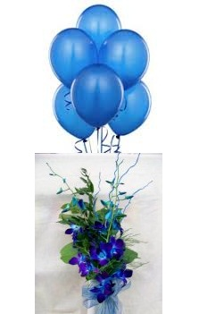 6 Air Blown Blue Balloons with 4 Blue Orchids