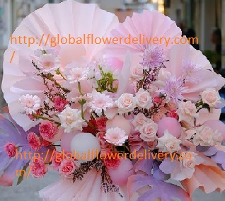30 Pink Orange Rose  and Carnations basket with pink paper fans and a few balloons