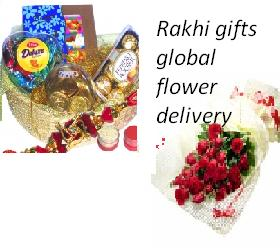 Assorted chocolates, 50 flowers bunch and rakhi