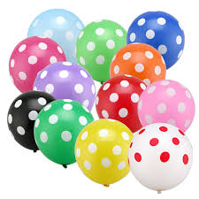 12 polka dot air balloons