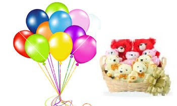 Buy BuyNow 8 Teddies In A Basket With 12 Air Balloons