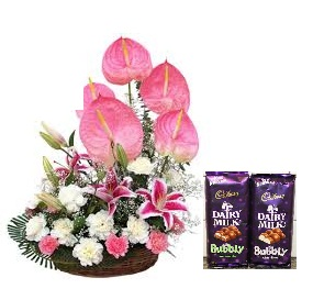 4 Anthurium and 20 flowers basket with 2 bubbly silk chocolates