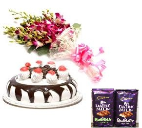 2 bubbly silk chocolates with 10 orchids bunch and 1/2 kg black forest cake