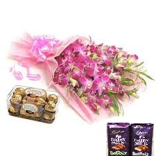 2 bubbly silk chocolates with 10 orchids bunch and 16 Ferrero rocher box