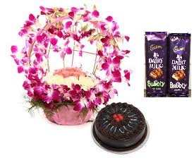 2 bubbly silk chocolates with 10 orchids basket and 10 roses 1/2 kg chocolate cake