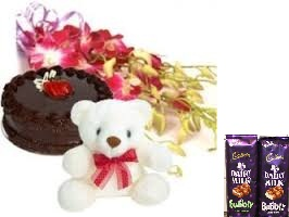 2 bubbly silk chocolates with 10 orchids bunch and 1/2 kg chocolate cake with teddy bear