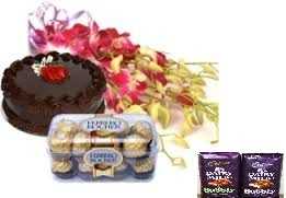 2 bubbly silk chocolates with 10 orchids bunch and 16 Ferrero rocher box with 1/2 kg cake