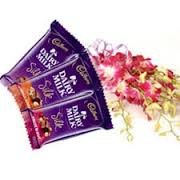 2 bubbly silk chocolates with orchids bunch