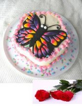 1 kg butterfly cake with 5 roses