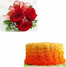 ombre chocolate cake 1 kg with 5 roses