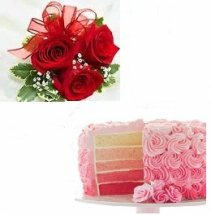 ombre cake 1 kg with 5 red roses
