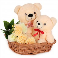 2 Teddy bears (6 inches each) and 3 Carnations in same basket