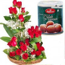 Box of Gulab Jamun and 18 red roses basket