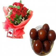 1/2 Kg. Gulab Jamun and 12 red roses