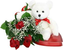 3 roses with teddy bear
