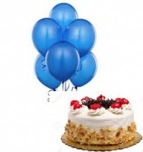 6 Blue Air Filled Balloons With 1 2 Kg Black Forest Cake