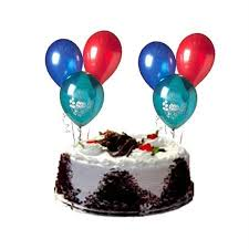 5 star 1 kg black forest cake and 6 blown air balloons