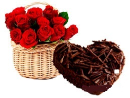 Heart chocolate cake 1 Kg with 12 Red rose basket