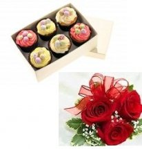 6 Assorted Pastries and 3 roses