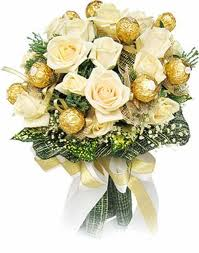 flowers and 16 ferrero chocolate bouquet