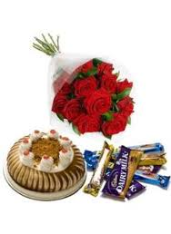 6 Red Roses, 1/2 Cake, 5 bars cadbury chocolate