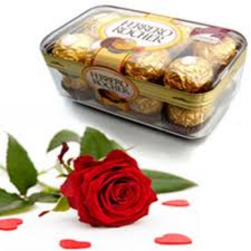 Single red rose with 16 Ferrero Rochers box