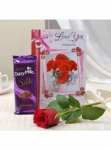 1 Red Rose Card and 1 Silk chocolate