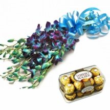 16 Ferrero rocher Chocolates and 10 Blue orchids bouquet