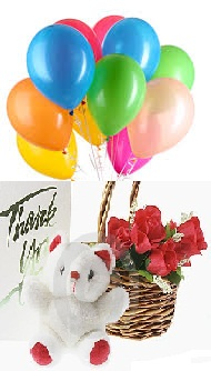 10 Air Balloons 6 Inch Teddy 5 Red Roses Basket Card