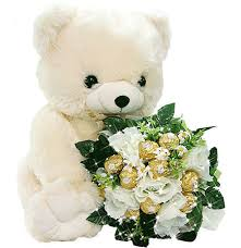 1 foot teddy with 16 ferrero rocher chocolates bouquet