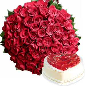 100 red roses in a basket + 1 kg. Pineapple Cake