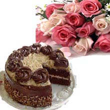 1/2 kg chocolate cake and 12 pink roses bouquet