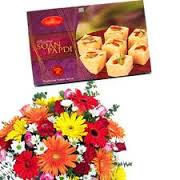 6 roses with 1/2 kg indian sweets