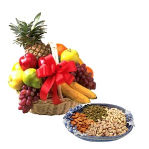 Dry fruits with fresh fruit basket